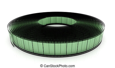 Film strip - 3D film strip roll isolated over white