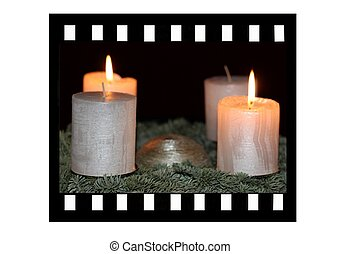 Film strip and candle light