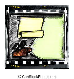 film strip and movie projector - Doodle film strip frame and...