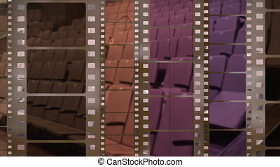 Film strip background with old scratches against cinema hall loopable