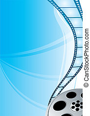 Cinema video film strip at bright blue background