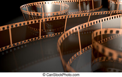 A strip of blank old vintage camera film curled up on an isolaed studio background