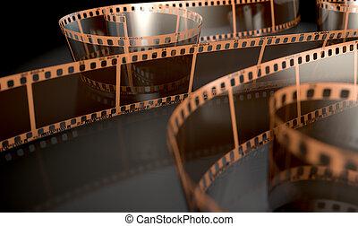 Film Strip Curled - A strip of blank old vintage camera film...