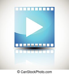Film strip, film frame with play button. Multimedia, cinematography, motion graphics concept.