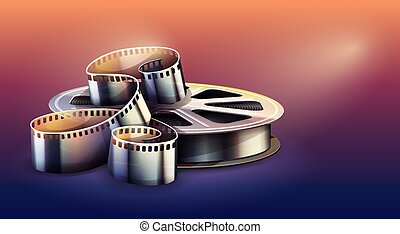 Film-strip for cinema motion picture production. Vector.