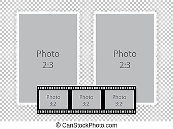 Film strip frames collage for photoalbum