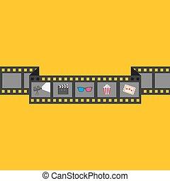 Film strip icon set. Popcorn, clapper board, 3D glasses, ticket, projector. Cinema movie night. Flat design style. Yellow background.