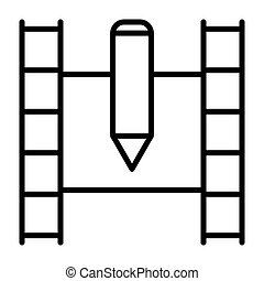 Film strip line icon. Video symbol. Vector illustration