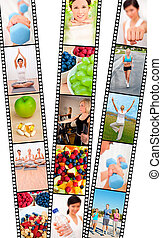 Film strip montage of fresh fruit, healthy food & water & women and men, healthy lifestyle sport exercising, yoga, working out with weights, cross trainer and running
