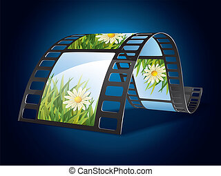 Film strip on blue background