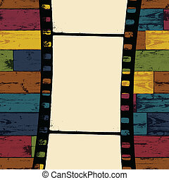 Film strip on colorful seamless wooden background. Vector, ...