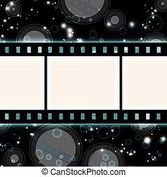 film strip on glowing dark background