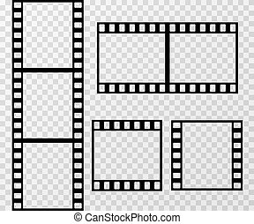 Film strip photo frame vector template isolated on transparent checkered background
