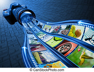 Professional Camera takes pictures. The film strip of pictures enter through the lens. Exclusive Design (Design Concept).