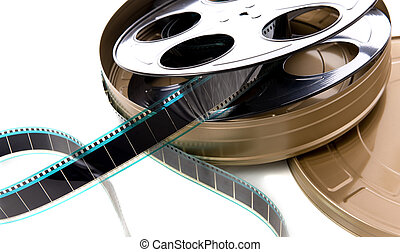 Film Strip, Reel and Can - A containter of film strip, film...