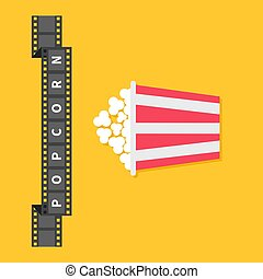 Film strip ribbon line with text. Popcorn. Red white box container. Cinema movie night icon in flat design style. Yellow background.