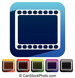 Film strip symbol on colorful backgrounds. vector.
