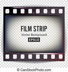 Film Strip Vector. Frame Strip Blank Scratched Isolated On Transparent Background.