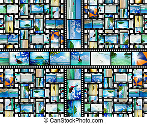 Film strip with beautiful holiday pictures