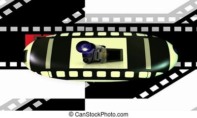 Film strip with camcorder