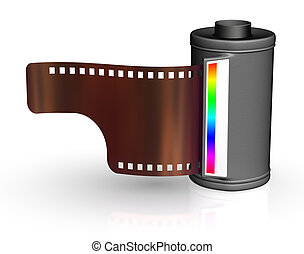 Film strip with canister - isolated on white backgrounds