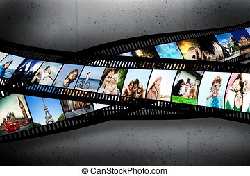 Film strip with colorful, vibrant photographs on grunge wall. Various themes