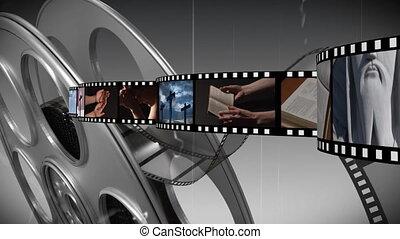 Film strip with different videos