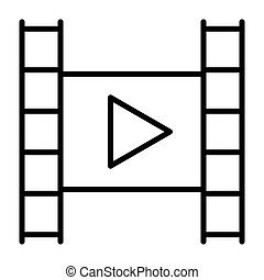 Film strip with play button line icon. Video symbol. Vector