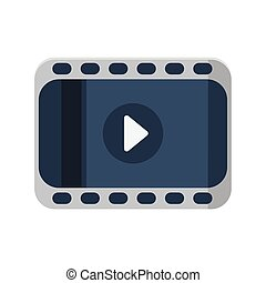 Film strip with play icon on white background