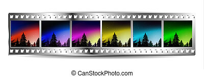 Film strip with set of six colorful nature landscapes.