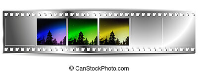 Film  strip  with set of three colorful nature landscapes.