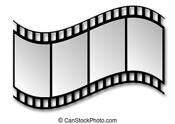 Film Strip with Shadow on White Background