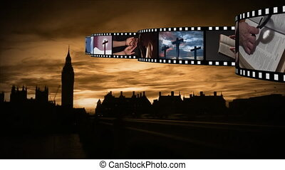 Film strip with videos and photographs