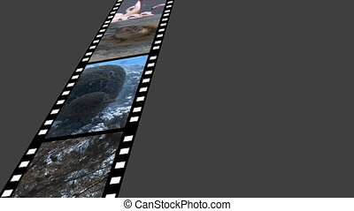 Film strip with videos - Digitally generated animation of ...