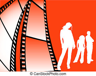 Film strip youth - Young people on film strip background
