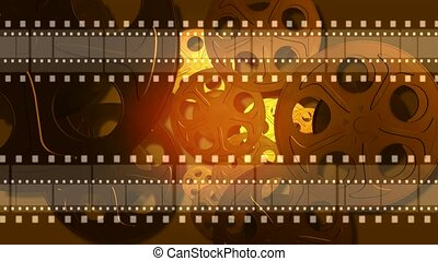 Film strips running across frame with reels in background