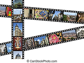 Barcelona, Spain - Film strips with travel photos. Barcelona...