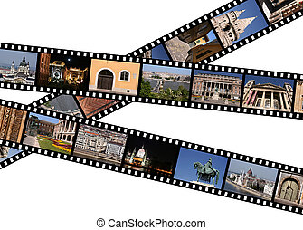 Hungary - Film strips with travel photos. Budapest, Hungary.