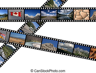 Film strips with travel photos. National parks of Canada - Rocky Mountains in Alberta and British Columbia.