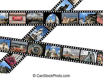 Prague - Film strips with travel photos. Prague, Czech...