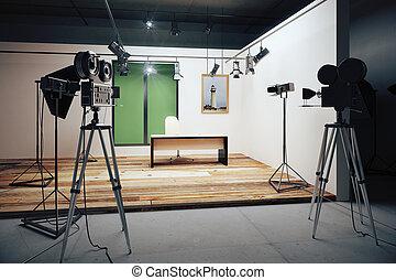 office backdrop. Film Studio Office Decorations With Vintage Movie Cameras Backdrop