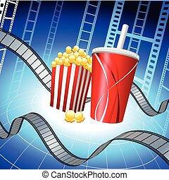 film, tło, popcorn, pas, soda