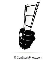 film tape in hand vector