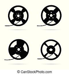 film tape roll old set illustration