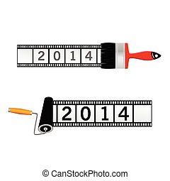film tape with 2014 color vector