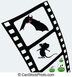 film tape with animal on it vector illustration