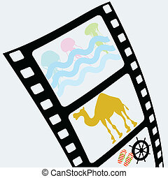 film tape with jellyfish and camel vector illustration