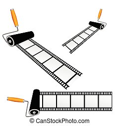 film tape with roller color vector illustration
