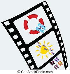 film tape with sun and flip flop vector illustration