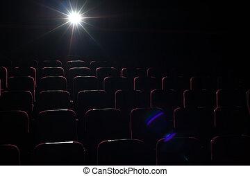 film teater, bakgrund, röd, sittplatser, in, bio, sal